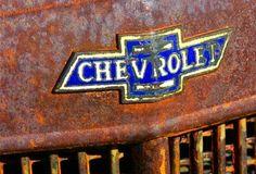 Babe loves his Dodge but I'm a Chevy girl :) Vintage Trucks, Old Trucks, Car Badges, Car Logos, Detroit Motors, Abandoned Cars, Abandoned Vehicles, Chevy Girl, Old Pickup