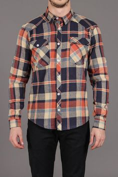 Matter Orange Navy Plaid 2 Pocket Shirt / by Arsnl