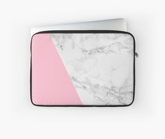 Marble & pink laptop case by GrybDesigns