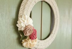 In this post I share instructions for making a woven wreath. I use a wire wreath form and macrame cord. Simple and pretty! Chest Of Drawers Makeover, Headboard Art, Wire Wreath Forms, Clothes Pin Wreath, Sunflower Wreaths, Welcome Wreath, Macrame Cord, Burlap Wreath, Wreath Crafts