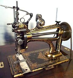 ❤✄◡ً✄❤ In common with Hurtu's range of machines, the attractive styling and decoration of this treadle head is unquestionable. - http://www.dincum.com/library/lib_hurtu_treadle.html