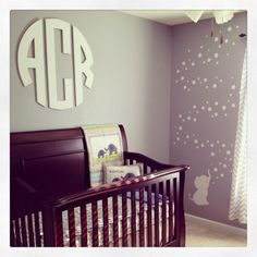 Personalize your nursery with a custom monogram - love the look of this modern monogram from @Matty Chuah Spotted Zebras! #nursery #wallart