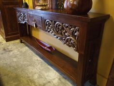 Long Narrow Carved Teak Console Table | Gado Gado. Gorgeous! Just what I need for my dinning room Indonesian Decor, Balinese Decor, Bali Furniture, Antique Furniture, Buffet Console, Gado Gado, Tribal Decor, Attic Ideas, Oriental Style