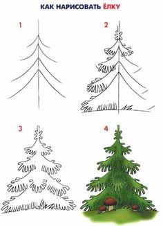 Tannenbaum zeichnen lernen Bäume zeichnen lernen. Zeichnen ...
