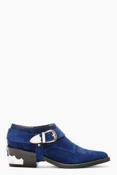 TOGA PULLA Indigo Blue Suede Western Buckle Ankle Boot