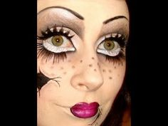 Top 25 Halloween Makeup Tutorials- Creepy Doll  was one of my favorite adult costumes. Warning- it does take some intermediate to advanced make up skills to accomplish the look!