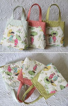 Mini tote bags for little girls- the BEST PRESENT! Geta's Quilting Studio