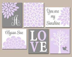 Lilac GRAY Nursery Baby Girl Nursery Wall Art - Gallery Wall Girl Bedroom Pictures - CANVAS or Prints Girl Purple Nursery Pink Gray Set of 6