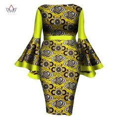 African Women Dress Lady Print Wax Dresses Bazin Africa Sexy sleeves Dress