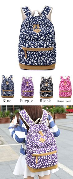 Fashion Feather Printed Canvas Casual Backpack Schoolbag only $34.99