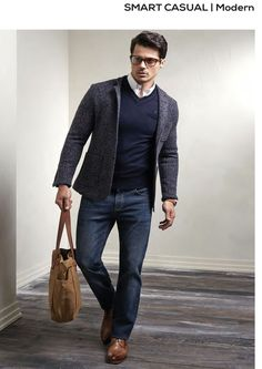 Best Menswear Smart Casual Modern Look - with structured salt-and-pepper blazer, indigo no-contrast jeans, tan oxfords, collared shirt, navy jumper.