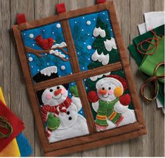 86732 Winter Window Crochet Christmas Ornaments, Felt Ornaments, Christmas Projects, Kids Christmas, Holiday Crafts, Holiday Decor, Christmas Decorations For Kids, Diy And Crafts, Ideas