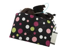 Medium Polka Dot Knitting Project Pouch - Black, Pink, Green - Premier Prints Spirodots - Makeup or Cosmetic Pouch - Handmade Mom Gift by TalfourdJones on Etsy