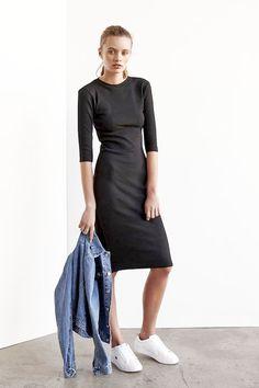 Le Fashion Blog Cool And Easy Combo Black Quarter Sleeve Dress Denim Jacket White Sneakers Via Viktoria & Woods