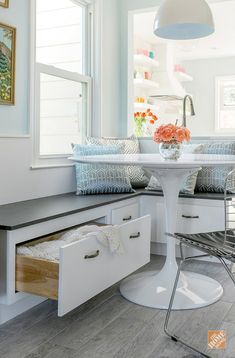Dream Kitchen Remodel, from Planning to Completion - This custom kitchen banquette provides comfortable seating and extra s - Kitchen Seating, Kitchen Benches, Kitchen Banquette Ideas, Kitchen Decor, Kitchen Booths, Diy Kitchen, Built In Dining Room Seating, Corner Bench Kitchen Table, Sunroom Kitchen