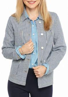 Crown  Ivy  Dark Blue Petite Size Railroad Stripe Jacket