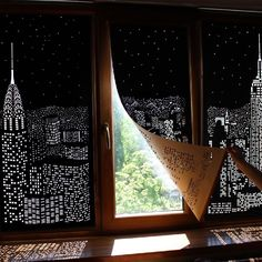 Amazing! Buildings and Stars Cut into Blackout Curtains! by HoleRoll.