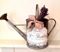 Shabby Chic French Blanket Box and Sideboard - Reader Feature - The Graphics Fairy Metal Watering Can, Watering Cans, Decoupage, French Flowers, Farm Crafts, Blanket Box, Graphics Fairy, Metal Crafts, Porch Decorating