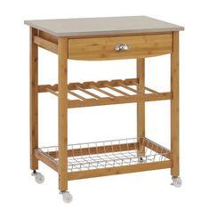 "Sandusky Lee MKT282034 Wood Kitchen Utility Cart with Stainless Steel Top, 28"" Length x 20"" Width x 34"" Height, Natural Wood Sandusky http://www.amazon.com/dp/B00EQ3BS9E/ref=cm_sw_r_pi_dp_faJhub1VQ5XNJ"