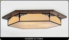 Six Sided Craftsman Style Light You can change the wood colors to match your home. Many styles, sizes and shapes are available. Flush Lighting, Flush Ceiling Lights, Ceiling Light Fixtures, Ceiling Lighting, Craftsman Chandeliers, Craftsman Lighting, Classic Ceiling, Custom Glass