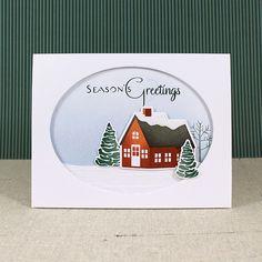 Snowy Season's Greetings Card by Lizzie Jones for Papertrey Ink (September 2016)