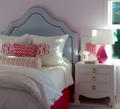 Preppy Pink and Blue Girl's Room, love the monogram and upholstered headboard.  Braelyn's guest room