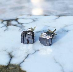 Small Raw Galena Stud Earrings Raw Galena by RockRoyaltyJewelry
