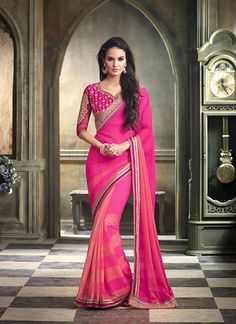 Salmon & Pink Chiffon Sareees Online India ,Veeshack.com   Fashion for the World - 1