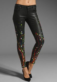 FOLEY + CORINNA Splatter Leather Like Skinny Pant in Black/Multi at Revolve Clothing - Free Shipping!