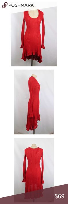 """Free People Fire Engine Red Knit Dress Too hot 🔥!  Free People Fire engine red knit dress.  In like new condition.  Stretch knit — fabric content tag missing. Size XS but could fit a S.  Shoulder 13""""; Sleeve 29""""; Bust 28""""; Waist 26""""; Hips 32""""; Length 45"""". Free People Dresses"""