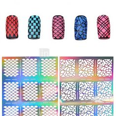 2016 New 1pcs Silver Hollow Stencil Nail Stickers Fish Scale Pattern DIY Nail Stamping Polish Guide Manicure Tools 2017 - $1.99