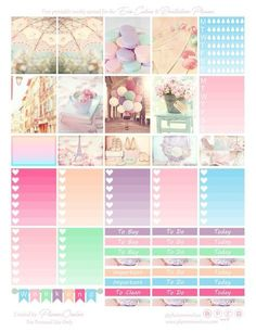 Free Paris inspired printable sticker spread for Erin Condren & Recollections Planner - Planner Onelove pastel colours Paris and balloons picture stickers, gradient tick lists, banners, dividers To Do Planner, Free Planner, Planner Pages, Happy Planner, Planner Inserts, Planner Ideas, Planer Organisation, Image Deco, Printable Planner Stickers