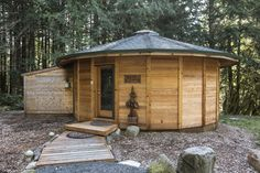 The Bear Cabin is the newest of the multi-sided, yurt-like cedar units for rent at Stormking Spa and Cabins. (Steve Ringman/The Seattle Times)