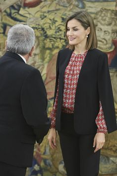 Royals & Fashion - Jan 8th, 2016. Queen Letizia held several hearings at the Zarzuela Palace, in Madrid.