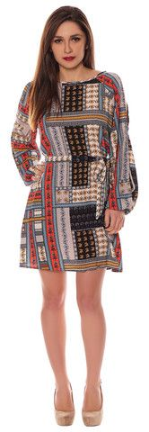 Alison Multicoloured Blue Red Floral Crepe Box Style Cut Out Cold Shoulder Belted Shift Dress