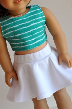 American Girl Doll Clothes White Skater Skirt With Teal Striped Crop Top 18 Inch