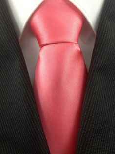 Pink Coral Wedding Neckties by TheNecktieShop on Etsy, $12.99. But grey suit instead of black.