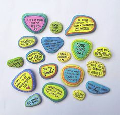 Spread goodvibes always & forever. Each listing contains a set of 6 hand painted - one of a kind - goodvibes rocks by paperedthoughts. Each rock