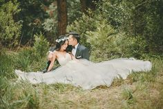 Dreamy Meadow Wedding Portraits | Kristen Booth Photography | Enchanting Mountain Bridal Portraits in a Fairy Tale Forest