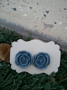Gray Blue Rose Resin cabochons Earings  20mm by kraftychix on Etsy, $5.00