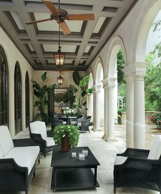 Luxurious outdoor living...Covered terrace with columns, arches and great ceiling - LOVE IT!!!