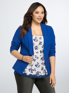 Plus Size Open Front Blazer