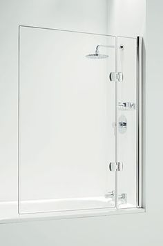 Phase Use a shower curtain to begin with (I. tank girl) and when we have the budget add in a clear glass shower screen. Shower over bath, simple, frameless glass shower screen. Upstairs Bathrooms, Downstairs Bathroom, Laundry In Bathroom, Small Bathroom, Bathroom Ideas, Dream Bathrooms, Master Bathroom, Bathroom Shower Panels, Shower Over Bath