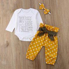 You Are My Sunshine Outfit Baby Girl Romper, Baby Girl Newborn, Baby Girls, Silk Milk, Best Baby Carrier, Polka Dot Pants, Long Sleeve Romper, Girls Rompers, You Are My Sunshine