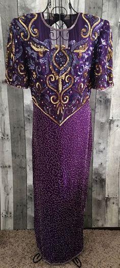 Vintage Laurence Kazar 100% Silk Sequin Beaded Evening Gown Dress Lined Large #LaurenceKazar #Gown