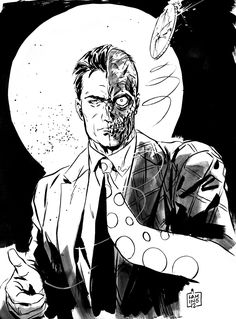 Two face by Marc Laming, in Eric Moore's Batmans Rogue's Gallery Comic Art Gallery Room Comic Book Artists, Comic Books Art, Comic Art, Batman Drawing, Marvel Drawings, Gotham Villains, Joker Art, Batman Universe, Two Faces