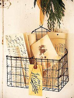 vintage wire basket christmas card holder