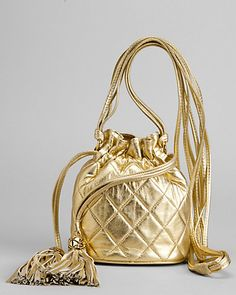 Chanel Vintage Quilted Metallic Leather Drawstring Bag