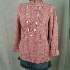 Rebecca Malone Pinkish Sweater Lovely sweater with cuffed sleeves.  New, never worn, no tags.  Note: Necklace not included.   Size XL. Rebecca Malone Sweaters