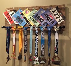 Running medal display made from reclaimed pallet wood
